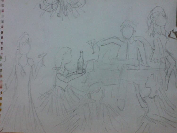 婚纱素描手绘图简单