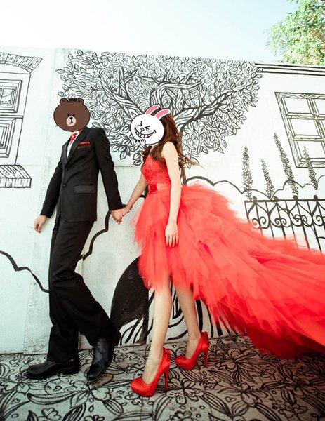 便宜出售 红色平口前短后长 拖尾30cm超浪漫礼服 红色高跟鞋 接色鱼