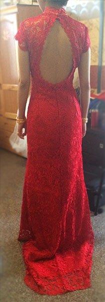 红色旗袍花纹素材