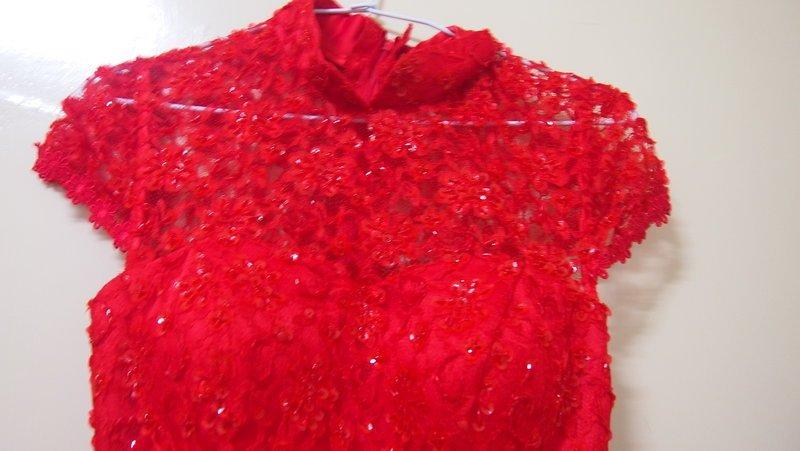 [售]蕾丝亮片鱼尾旗袍&红色蕾丝高跟鞋